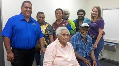 Murri Court co-ordinator Neil Hassall and indigeous justice officer Kirsty ONeill with elders Veronica Ah-Wang, Jenny Binsiar, Emma Blanco and Wendy Tapim and (front) Mabel Quakawoot and Doug Mooney.