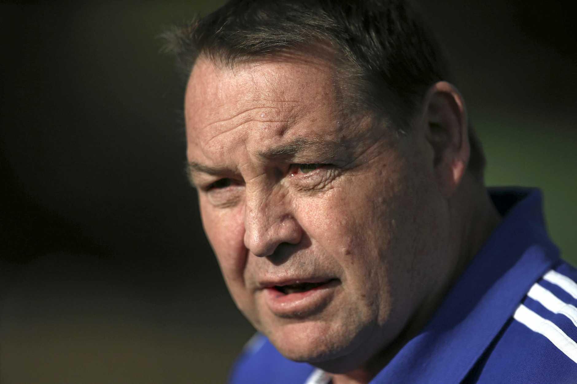 New Zealand rugby union head coach Steve Hansen looks on as his team trains.