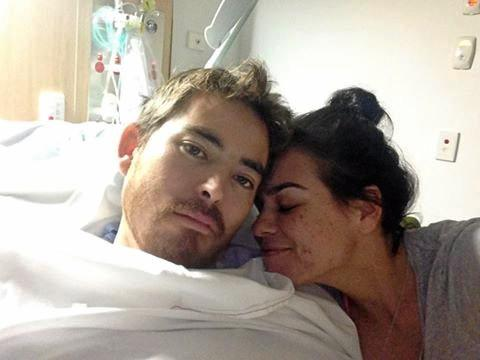 Shark attack victim Mathew Lee and his partner, Suzy Garada. Photo from the Mathew Lee Official Support Facebook page. Photo contributed