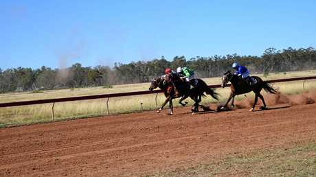 OFF AND RUNNING: Race 3 of the October Clermont Races, the Roy Woods Memorial. Enemy of Man was finally announced the winner after a close finish.