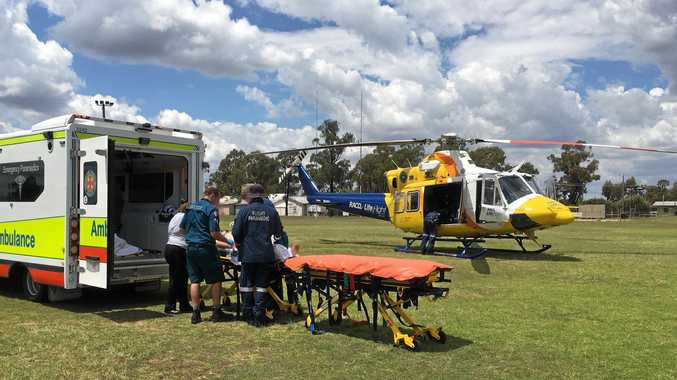 A man in his 40s was airlifted to Toowoomba after being kicked in the head by a bull this morning near Condamine.