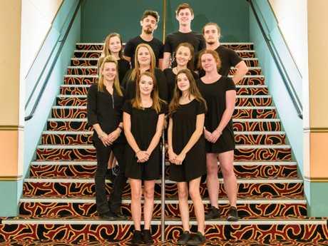 Staff of the Saraton Theatre (front row) Reenie Young, Ashlynn Mifsud, (middle row) Ashley Lynch, Michelle Gilbert, Annika Olsen, Lily Steele, (back row) Kiarni Olsen, Shannon McWilliams, Charlie Steele, Raih Woodley.