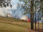 A grassfire in Limestone Park on Friday.