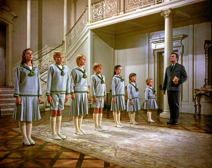 This photo provided by Twentieth Century Fox Home Entertainment shows, from left, Chairmian Carr, as Liesl, Nicholas Hammond, as Friedrich, Heather Menzies, as Louisa, Duane Chase, as Kurt, Angela Cartwright, as Brigitta, Debbie Turner, as Marta, Kym Karath, as Gretl, and Christopher Plummer, as Captain Von Trapp, in a scene from the film, \