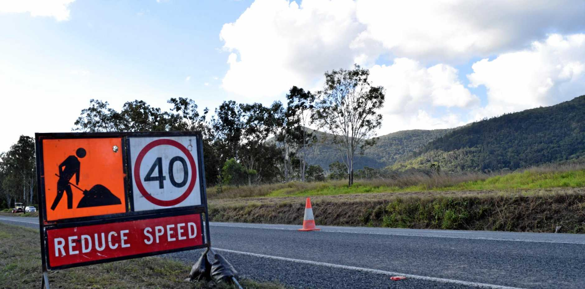 Temporary road works at Hampden slow down traffic along the Bruce Highway.