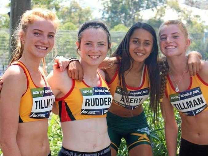 OUSTANDING: South High stars Erica Tillman, Natasha Rudder, Nathalie Avery and Megan Tillman competing at the NSW All Schools Athletics Championships.