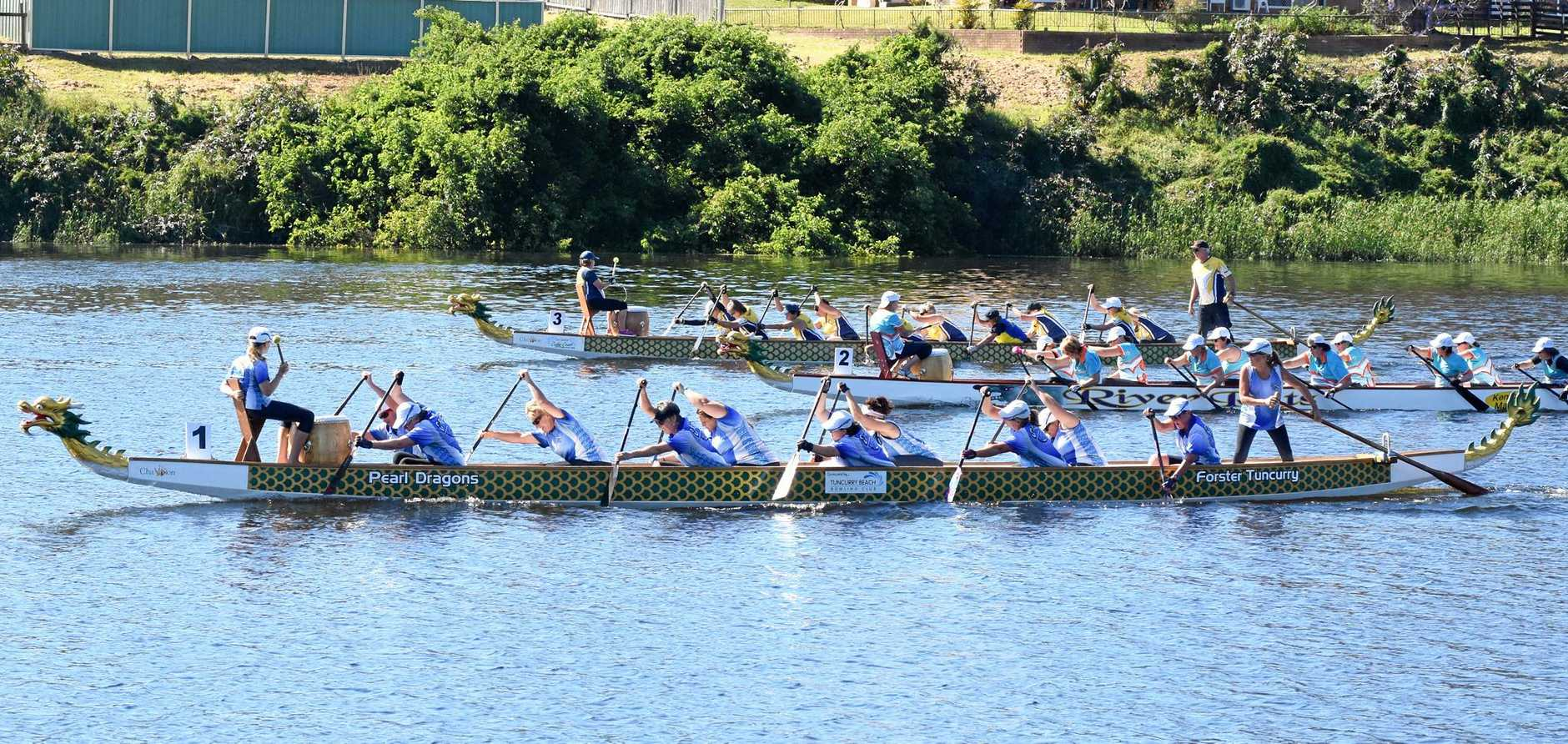 DOMINANT: Grafton Women's Team in boat one showing their style against the competition to win the race by a over a boat length.
