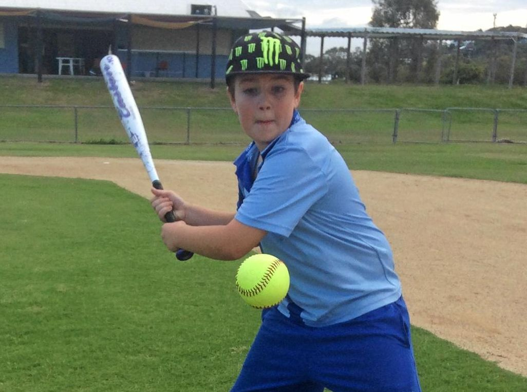 POWERFUL: Max Maddy takes a big swing. He is one of many youngsters in the region showing promise when it comes to the sport.
