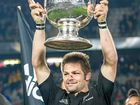 New Zealand captain Richie McCaw with the Bledisloe Cup in 2015.