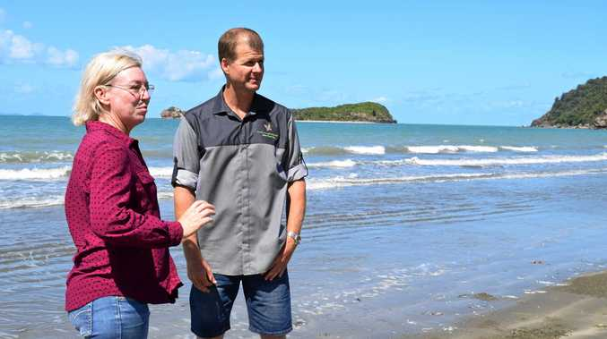 Minister for Fisheries Leanne Donald with Cape Hillsborough Nature Tourist Park owner Ben Atherton.