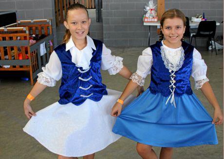 ST PAT'S SCHOOL FETE: Hayley Miller and Giahn Swinbourne.