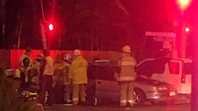 A crash on the corner of Webberley St and Nebo Road, West Mackay.