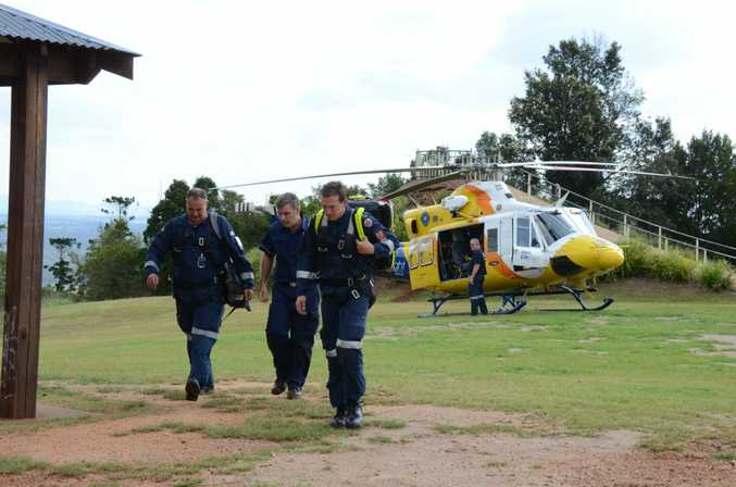 A woman was airlifted to hospital after falling from a horse on Mt Wooroolin on Friday, October 21.