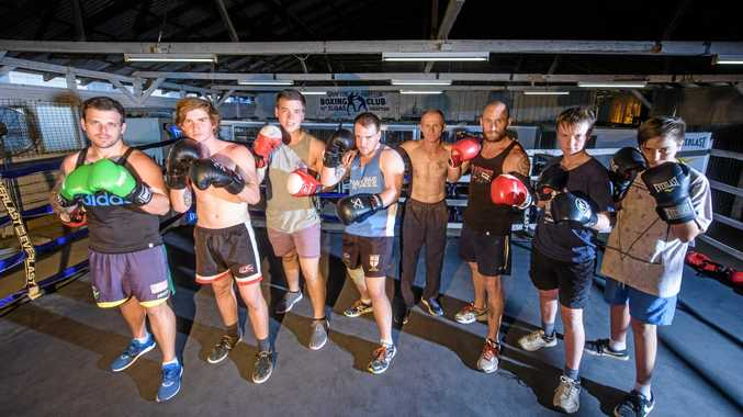 FIGHT CLUB: Coach Dean Cribb (centre) with some  of the fighters from the Grafton Amateur Boxing Club getting ready for  the upcoming CRJC  Fight Night in December.