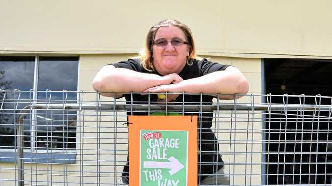 THIS WAY: Kim Flenady was one of numerous houses in Rockhampton this week who took part in the Garage Sale Trail