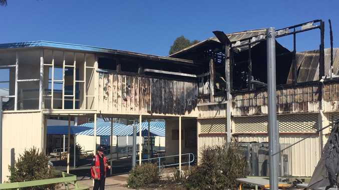 A building at Biloela State High School was totally destroyed in a fire last night.
