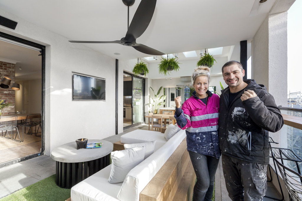 Kim and Chris pictured on their winning outdoor terrace in a scene from The Block.