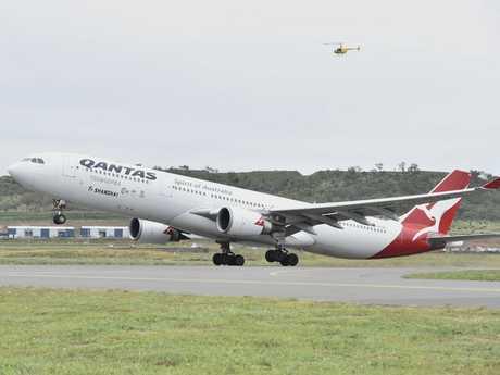 First international passenger flight by Qantas from Brisbane West Wellcamp Airport to Shanghai. October 23, 2016
