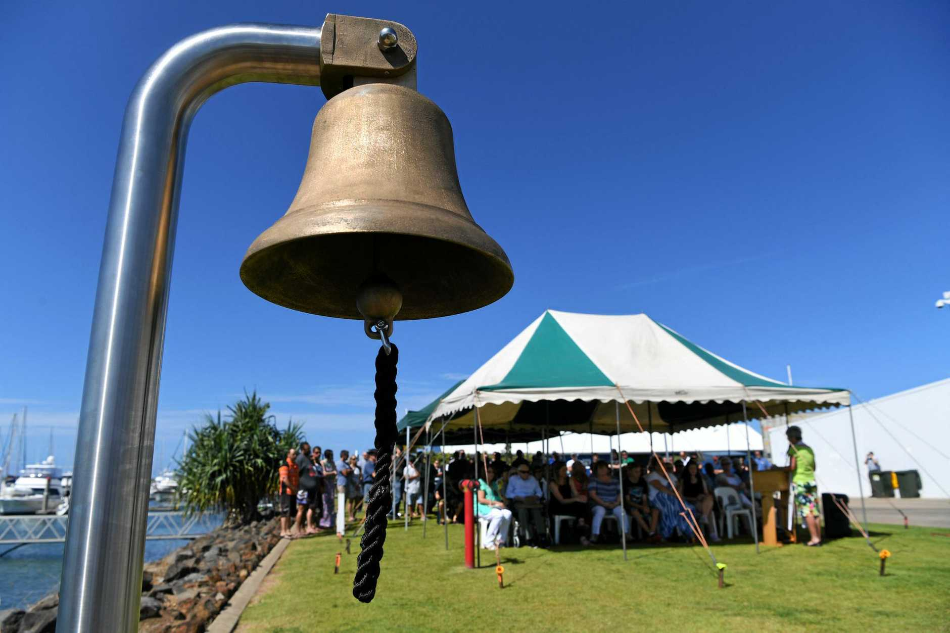 ALWAYS REMEMBERED: The memorial bell for Matthew Roberts and David Chivers who were tragically lost at sea on 4 April 2016.