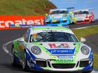 Warwick driver Matt Campbell at the front of a race in the Porsche Carrera Cup this season.