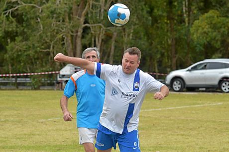 Masters Soccer Tournament at Buderim.Dave Campbell from the Woombye club in an over50's match.