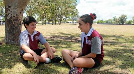 Year 6 students Riley Sinn and Jade Davey made the video for Andergrove State School's My Park Rules entry.  Photo Lucy Smith / Daily Mercury