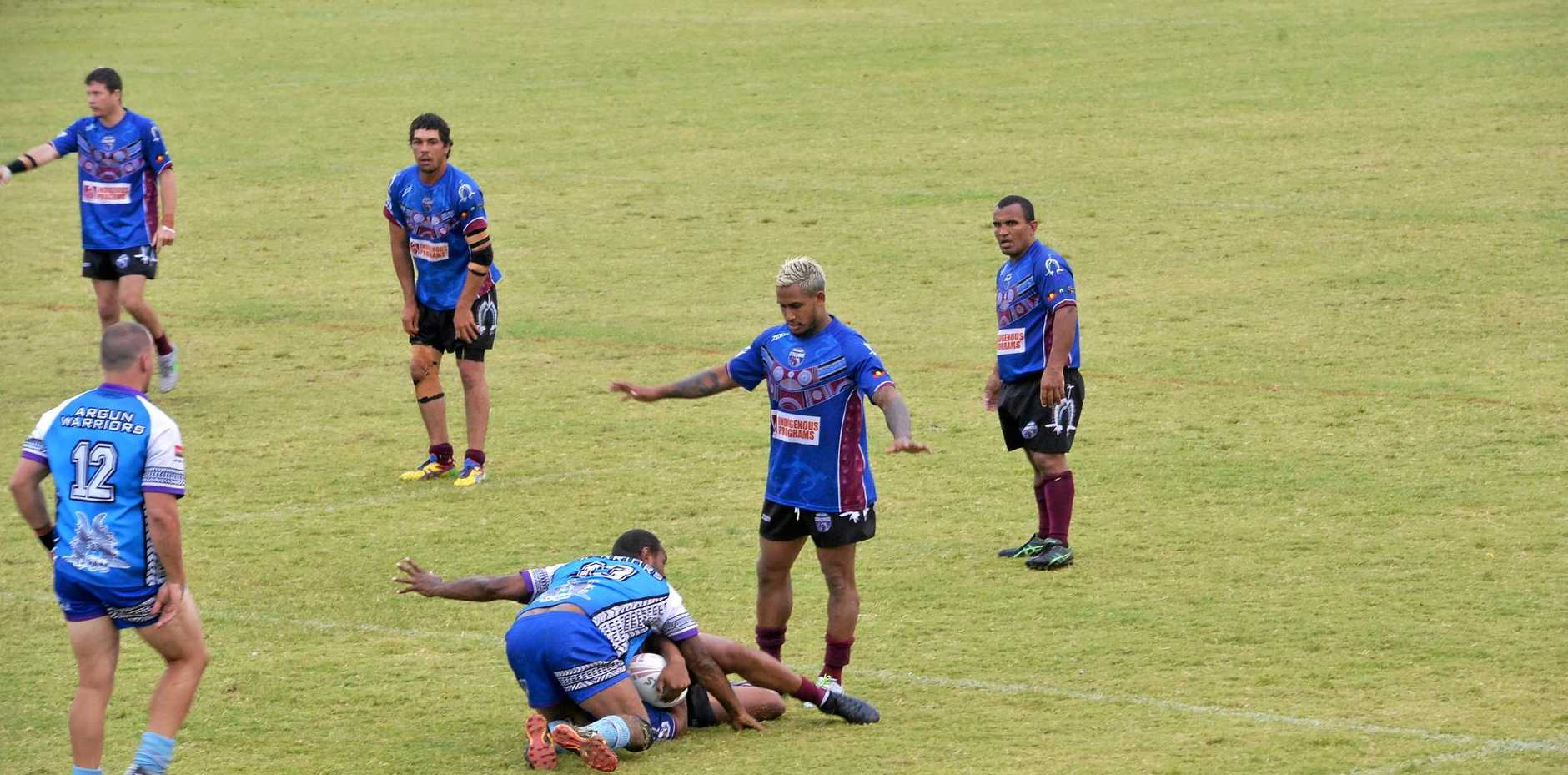 STAR: NRL player Ben Barba waits to play the ball in the grand final match.