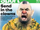 The New Zealand Herald back page featuring Cheika dressed up as a clown. Source NZ Herald.