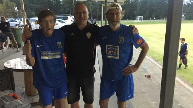 GOOD TIMES: Bob Chambers, 85, with friends at the Supa Oldies Soccer Tournament.