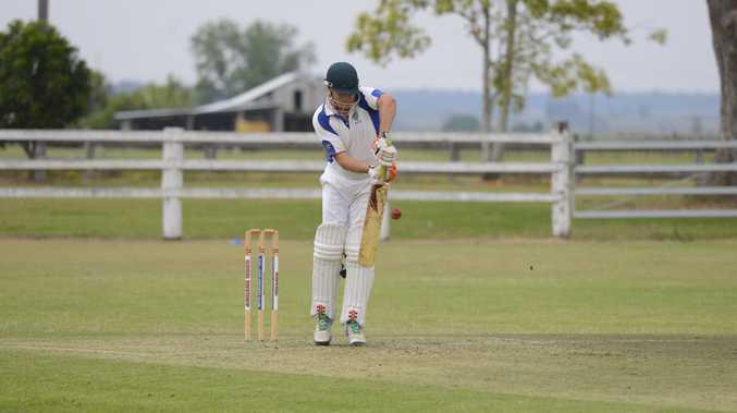Harwood batsman Nathan Ensbey during the CRCA match between Harwood and Tucabia at Small Park Ulmarra on Saturday 22nd October 2016.