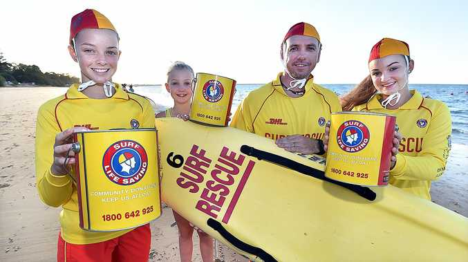 Surf Safe Appeal - Hervey Bay Surf Life Saving Club captain Darren Horton with daughters (L) Kristen,14, Nikki,10 and Kirra,16, at Torquay Beach.