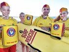 Surf Safe Appeal - Hervey Bay Surf Life Saving Club captain Darren Horton with daughters (L) Kristen,14, Nikki,10 and Kirra,16, at Torquay Beach.