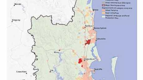 The draft SEQ Regional Plan map of future growth