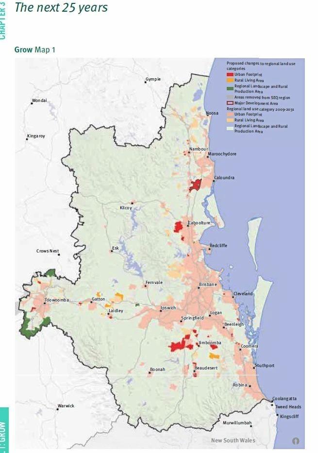 The draft SEQ Regional Plan map of future growth