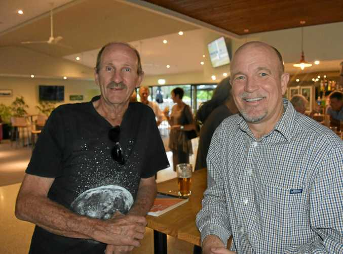 HALL CALL: Cooroy Memorial Hall supporter Harry Kirk with Noosa Council CEO Brett de Chastel at the local sports hub in Opal St.