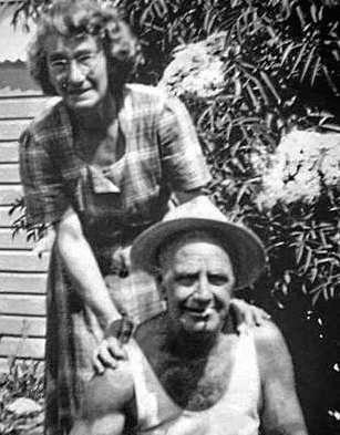 Alex and Olive Young in their garden at Greenslopes.