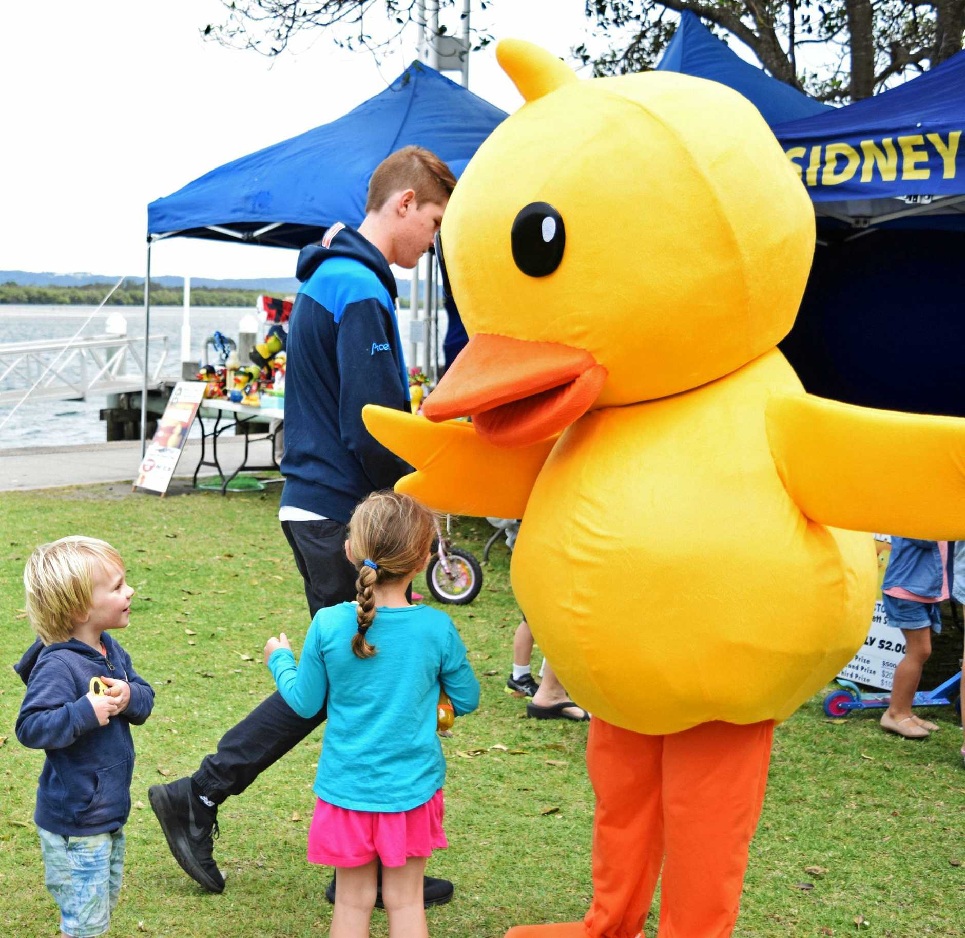 A mascot for the Rotary Great Duck Race entertains children in Ballina.