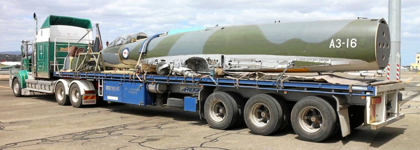 Queensland Air Museum's latest major historical aircraft acquisition the jet fighter GAF MIRAGE III0 (FA) A3-16, arrived at Caloundra this morning, October 24, 2016.