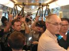 Taken on the 5pm Roma Street to Nambour train trip home in 2013 where 50 passangers were standing in a carriage. 30 services cut could impact this even more.