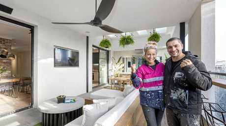 *WARNING EMBARGOED UNTIL 9pm Sunday October 23* Kim and Chris pictured on their winning outdoor terrace in a scene from The Block. Supplied by Channel 9.