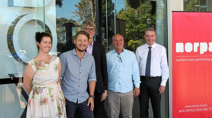 ANNOUNCEMENT: NORPA's Producer Marisa Snow, Artistic Director Julian Louis, General Manager Patrick Healy, Chair David Wolff, with Member for Page Kevin Hogan.