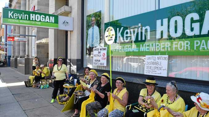 The Knitting Nannas at Kevin Hogan's office in Molesworth Street.