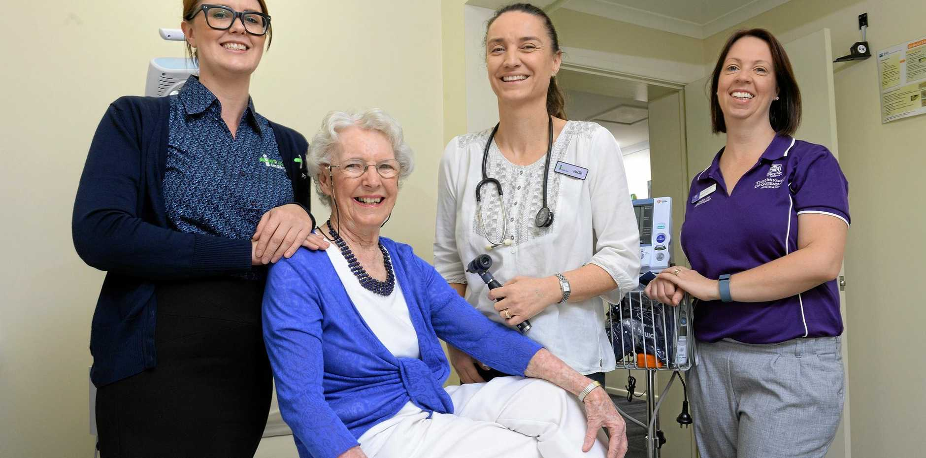 BETTER CARE: Senior receptionist t at UQ Health Care Aveo Medical Centre Jessica Ward, resident Elaine Paige, registered nurse Jodie Knight, and UQ provisional psychologist Kathryn Farr.