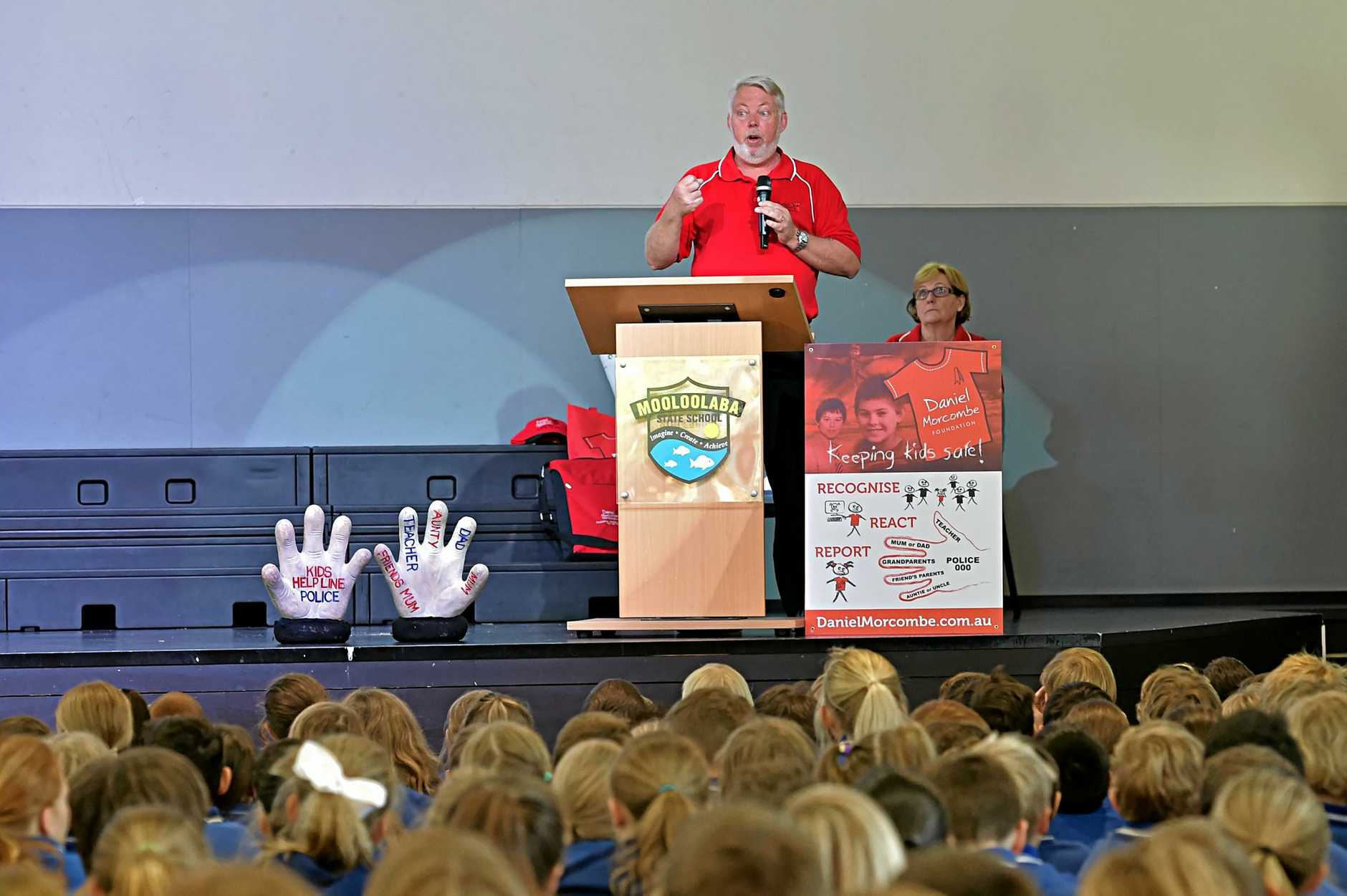 Bruce Morcombe speaks to the children at Mooloolaba State School as a preview for Day for Daniel on Friday, October 28.