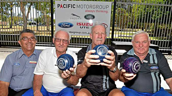 OLD MATES: Les Evangelista from Pacific Ford, Tom Mackaway, Jono Johnson and Ron Pattinson ready for action.