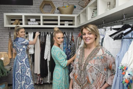 CLOTHES CYCLE: ( From left ) Brooke Parry and Natalie Dendle with Smoke and Mirrors owner Brooke Jones. Wednesday Oct 12, 2016.