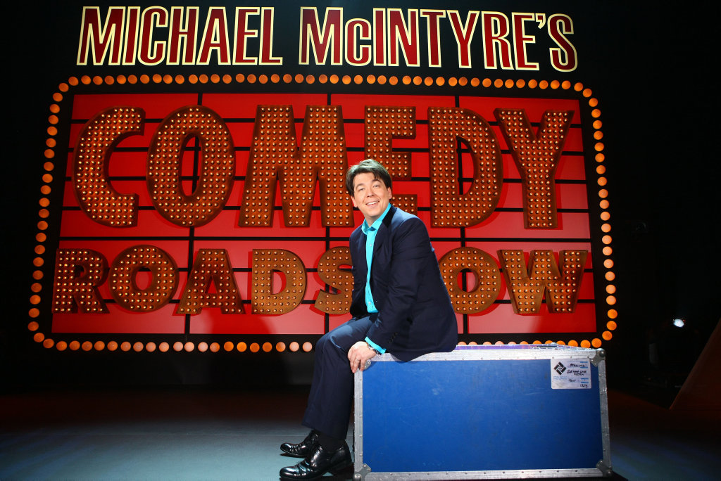 Michael McIntyre in a scene from his TV series Michael McIntyre's Comedy Roadshow.