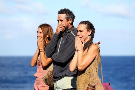 El, Lee and Kristie pictured during the grand final of Australian Survivor.