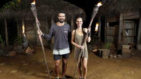 Australian Survivor's final two, Lee Carseldine and Kristie Bennett at their final tribal council.
