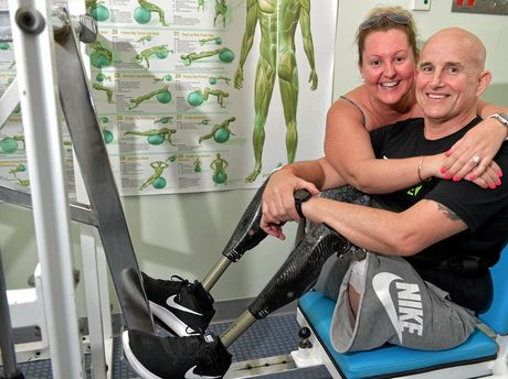 Mark Urquart had his legs amputated after a recent accident and has started rehabilitation with his new legs.He recently proposed to his girlfriend Vikki Cooper.